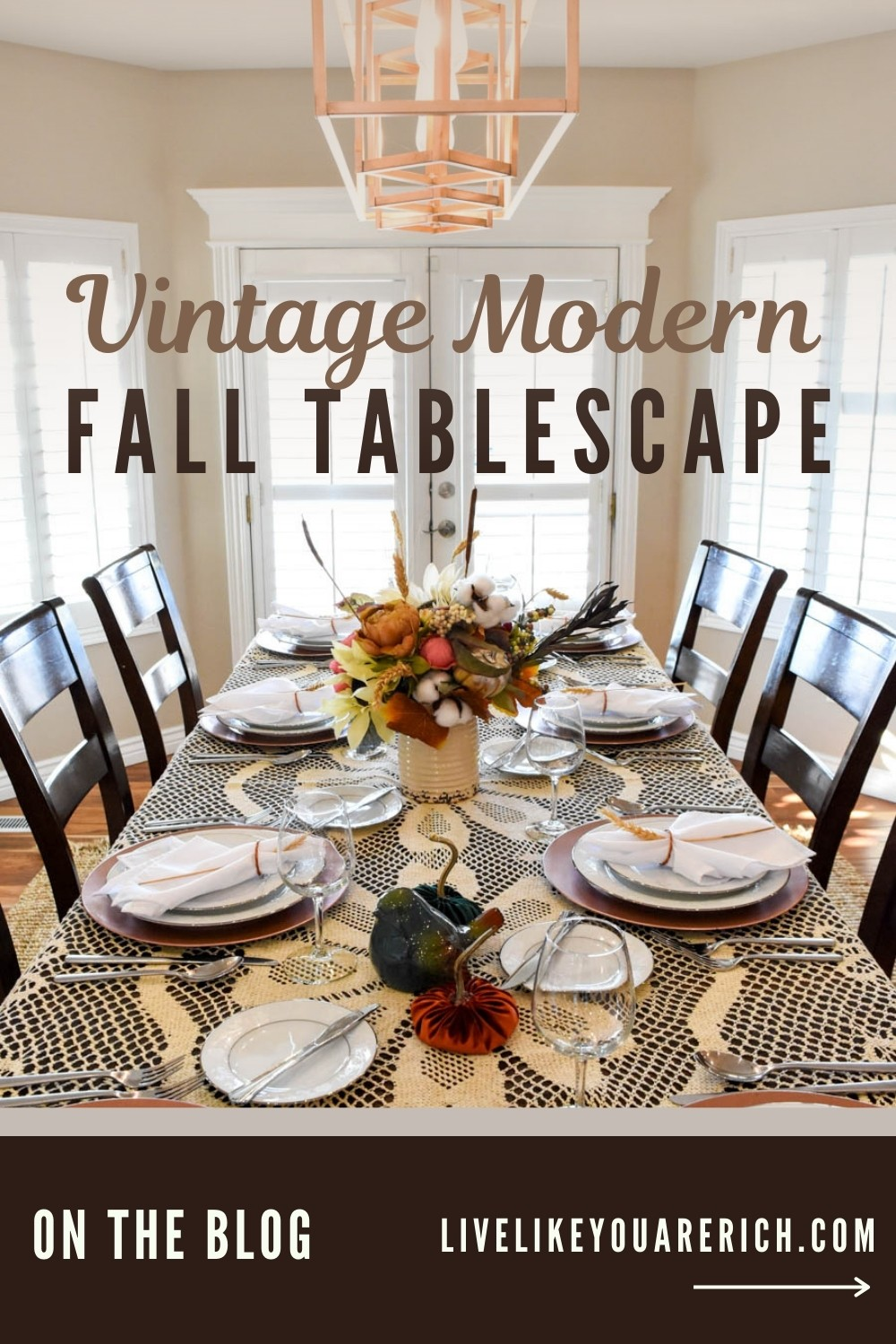 This vintage modern fall tablescape is a combination of a style of decorating when one mixes and decorates with old style and new style items. Together they create a fun and unique look that is called vintage modern.