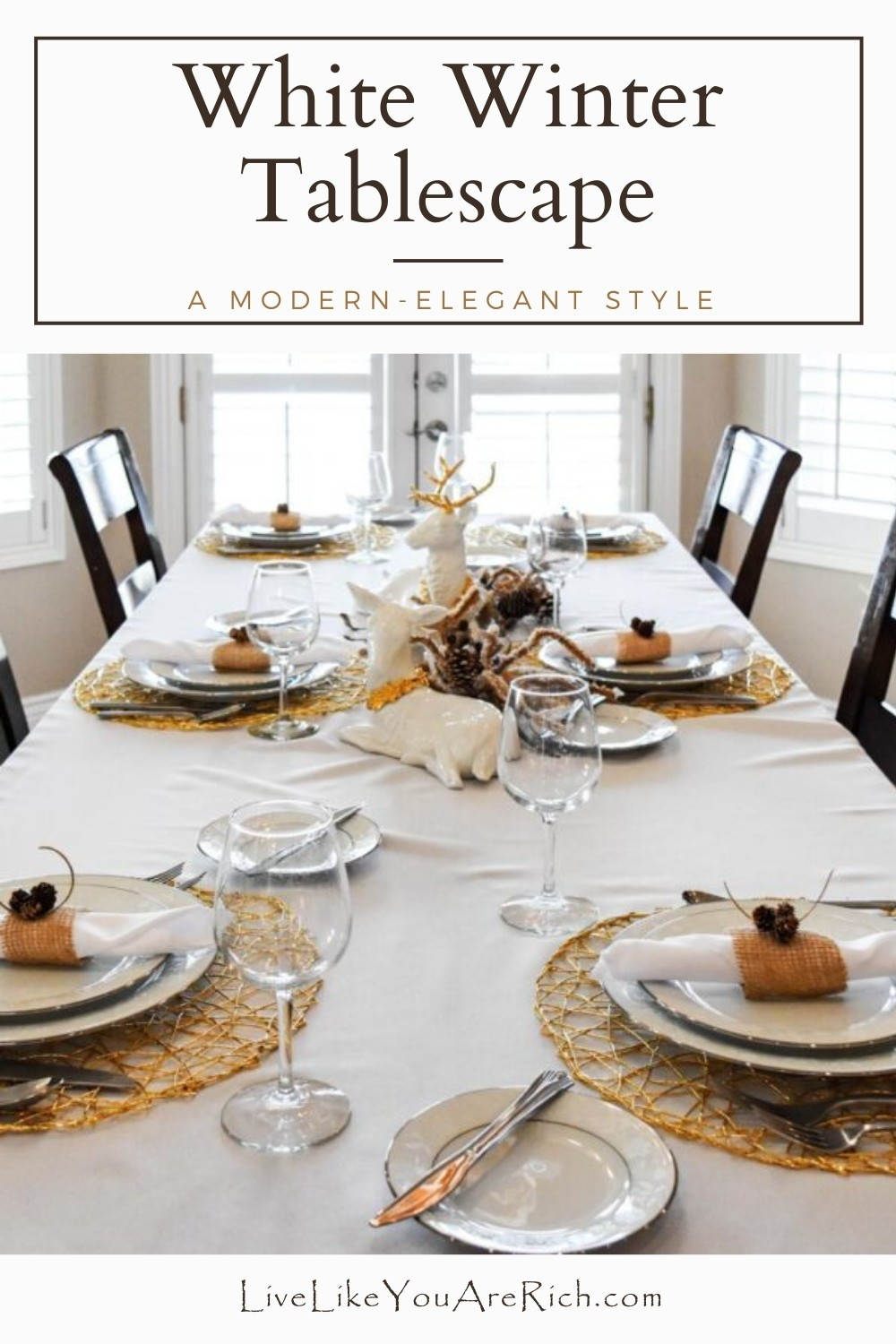 I created this white winter tables cape for an early Christmas dinner we had with some of my husband's family. This tablescape was easy to put together. I used what I had on hand which saved me time shopping and money.