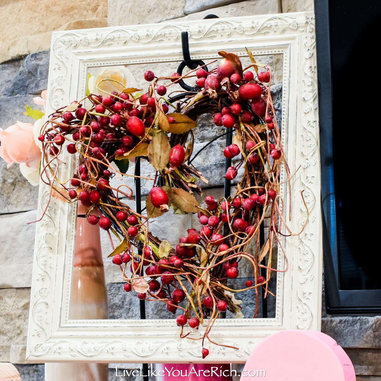 Berry Heart Wreath in a Vintage Frame