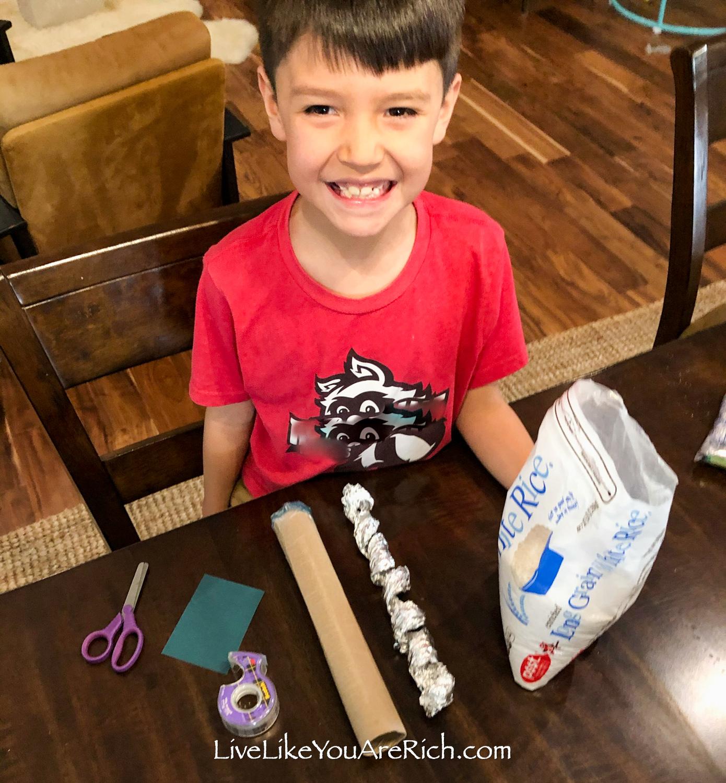 DIY rainstick for kids needed supplies