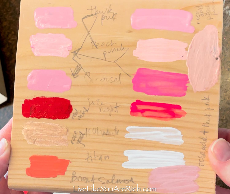 DIY Wood Block Hearts paint colors