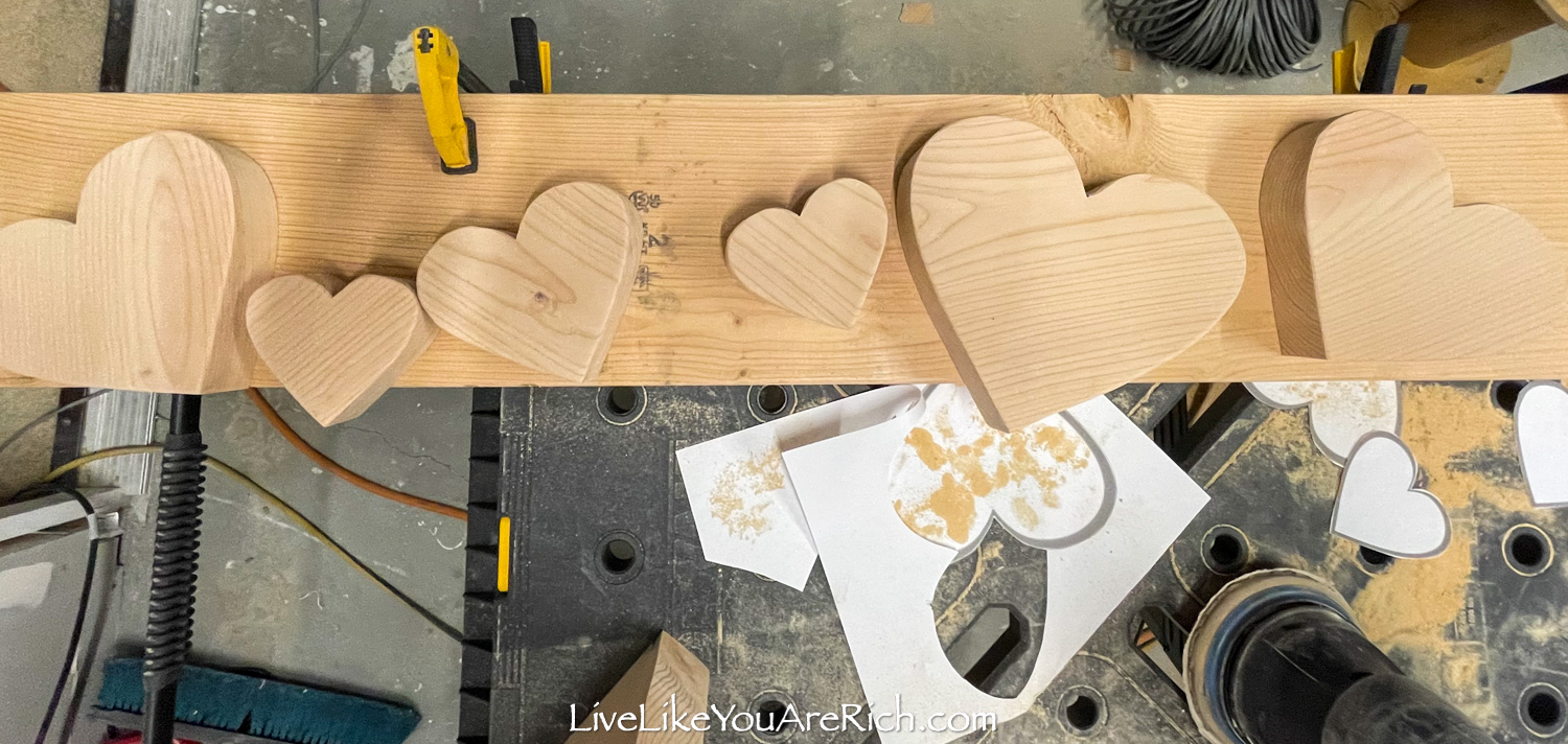 Heart shape woods different sizes