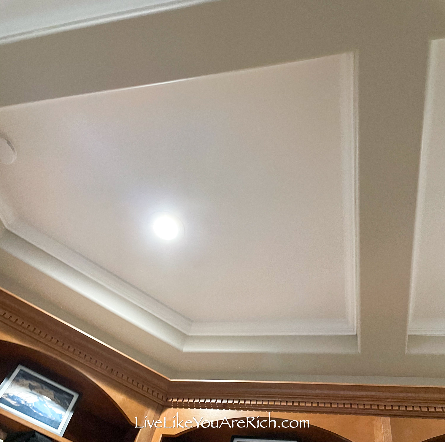DIY office renovation painted ceiling