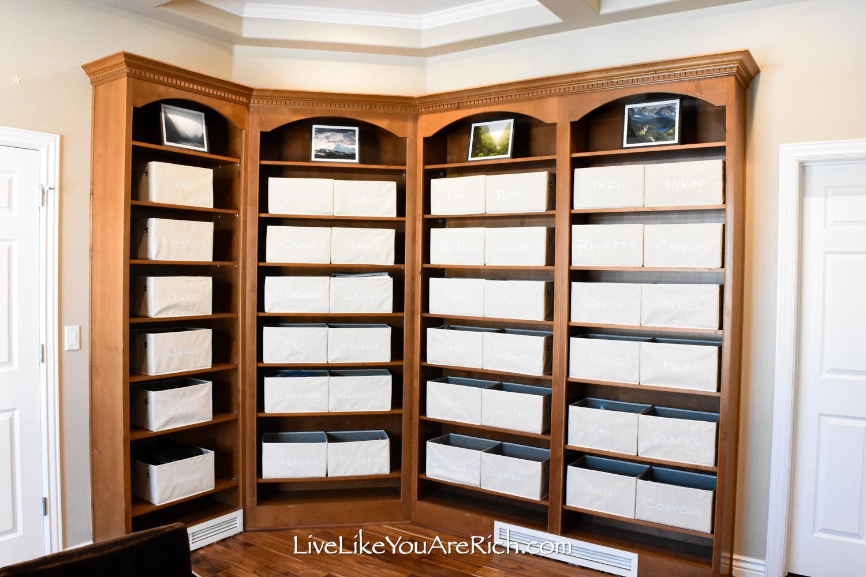 Framed landscape photographs display bin