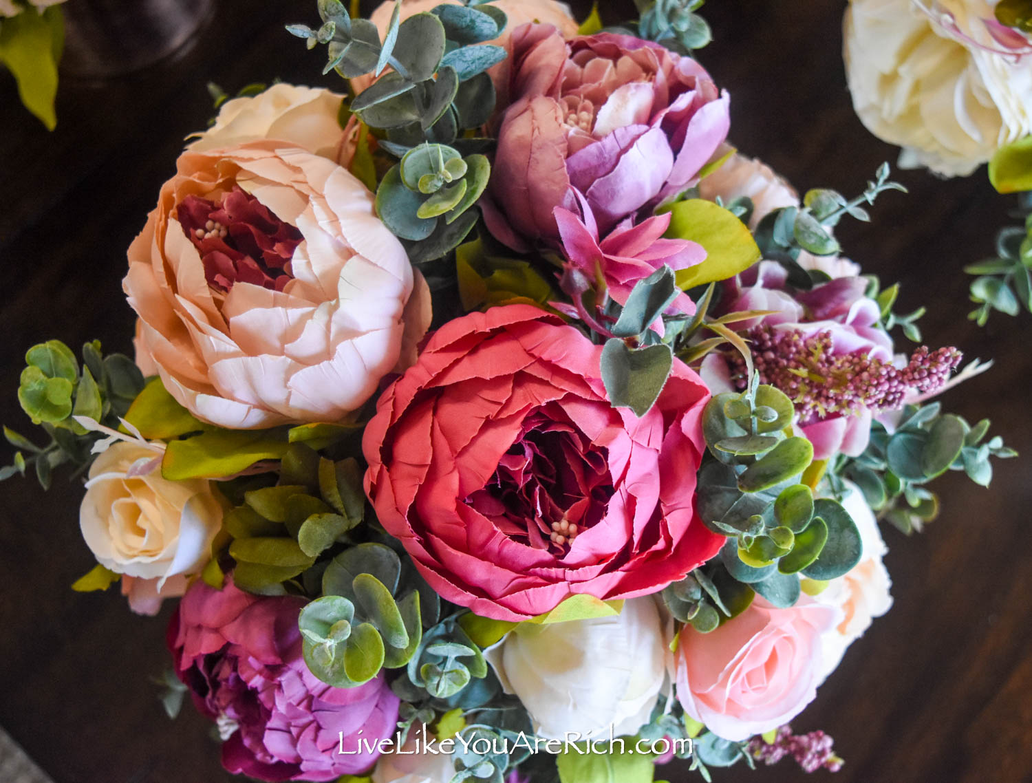 Peony and rose flower close up