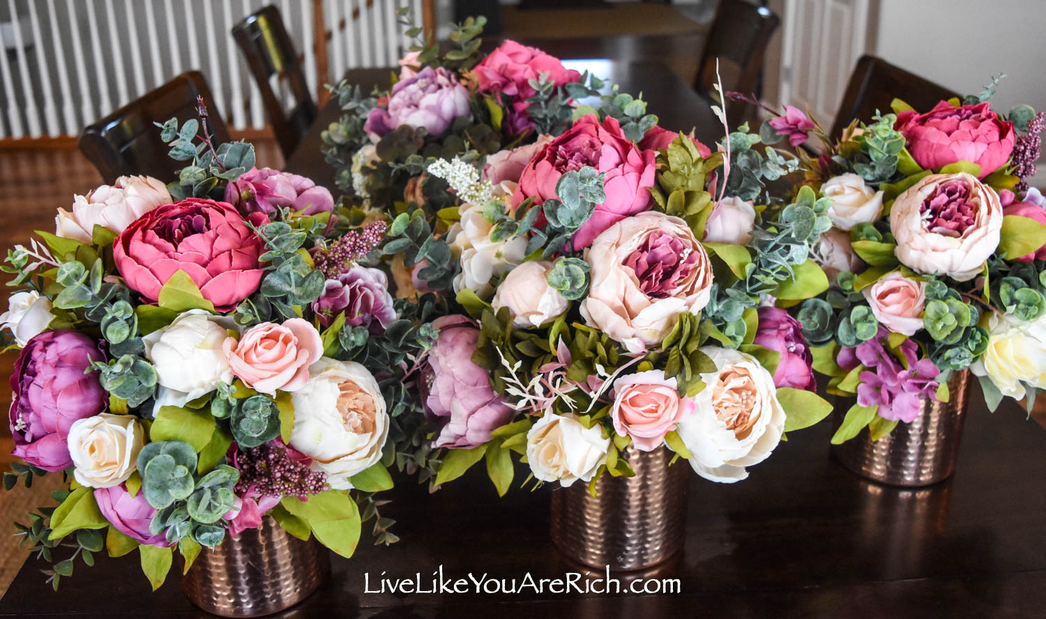 Peony and Rose Artificial Flower Arrangement