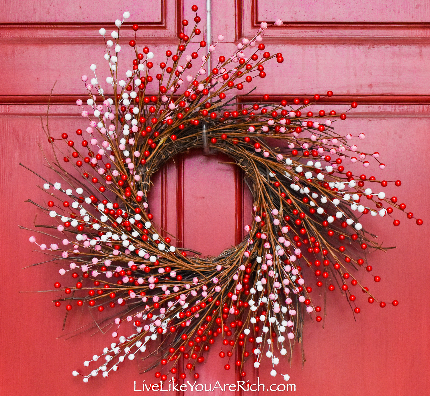 Valentine's day Red, Pink, and White Berry Wreath