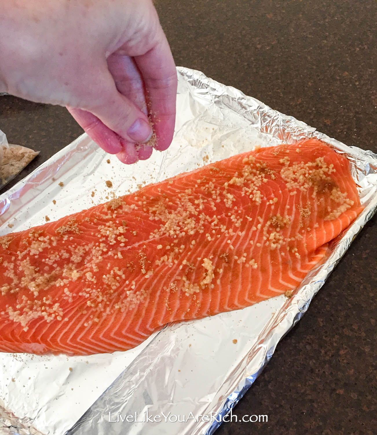 Salmon with sprinkle brown sugar