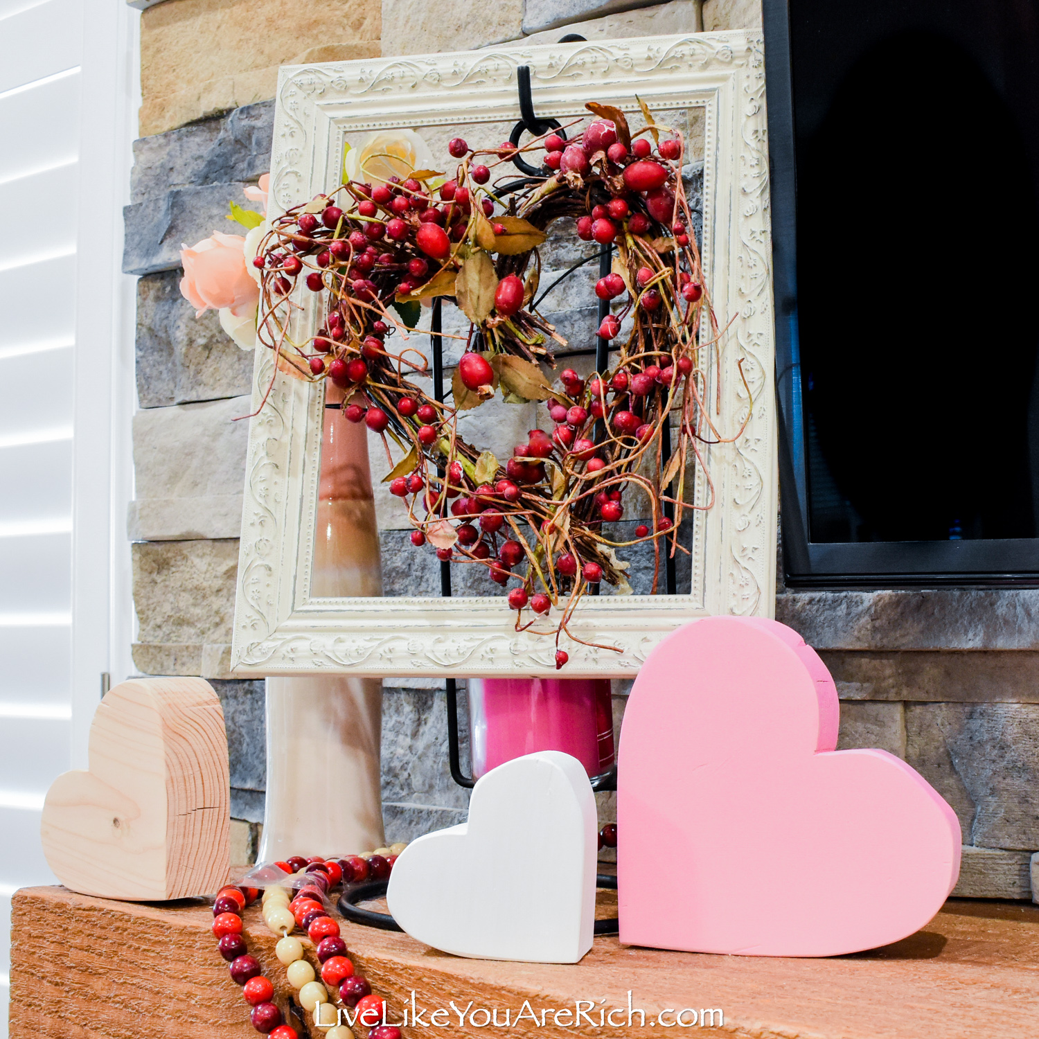 Framed heart shape wreath