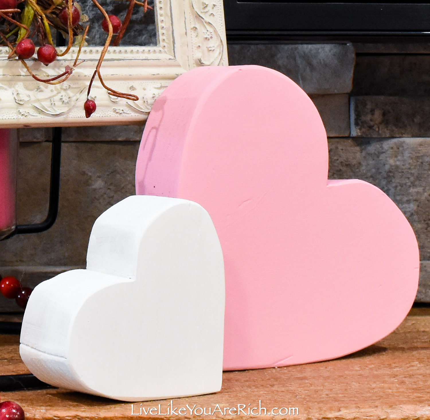 DIY Wood Block Hearts painted with white and pink