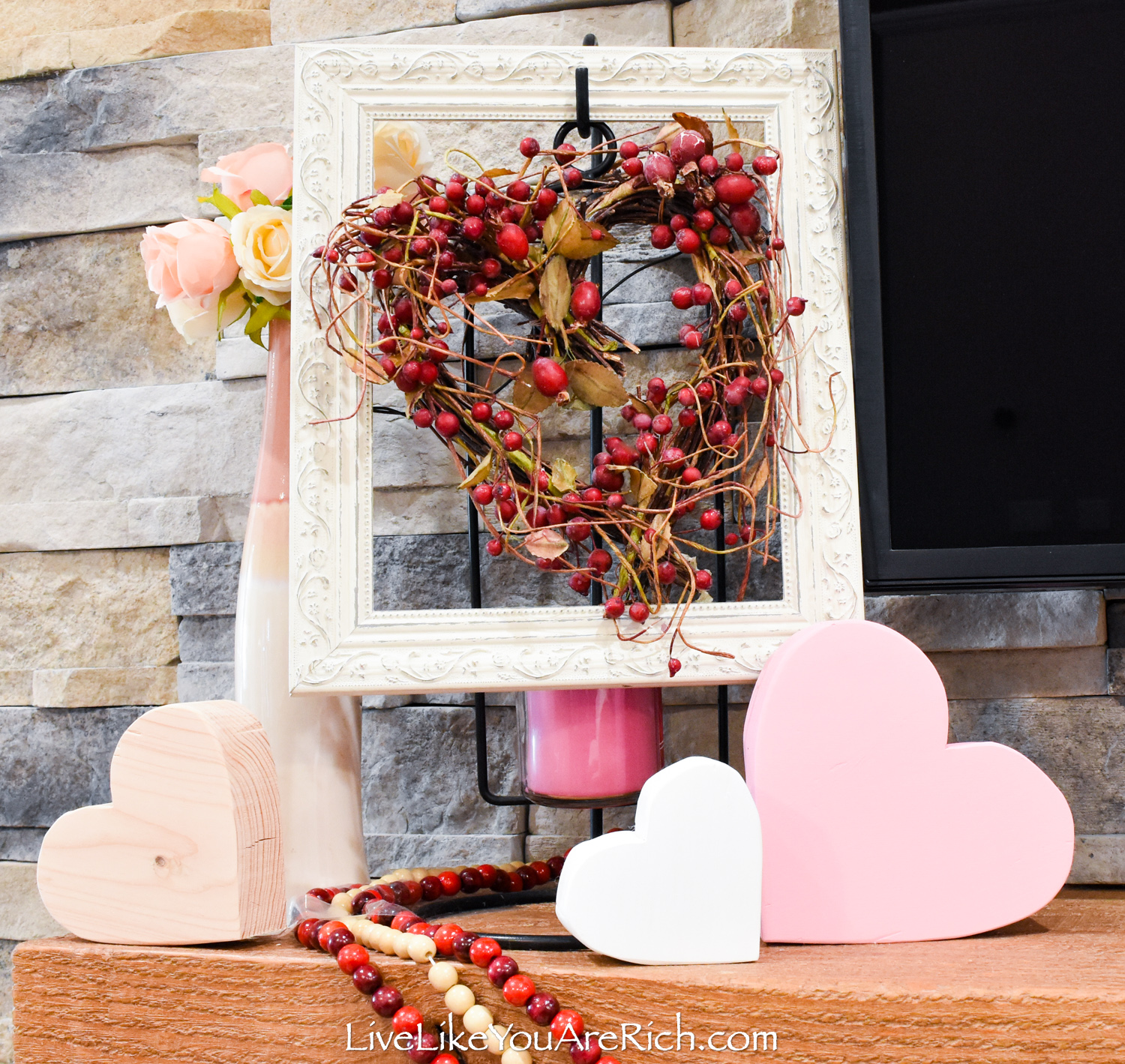 Valentine's day mantel decor wood heart shape