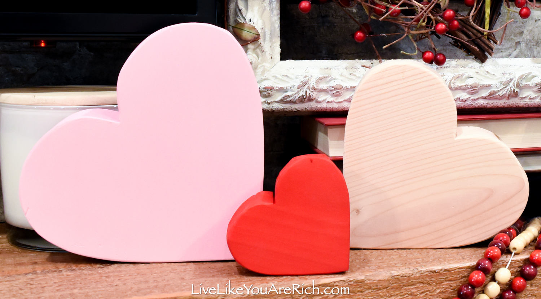 DIY Wood Block Hearts Valentine's day mantel decor