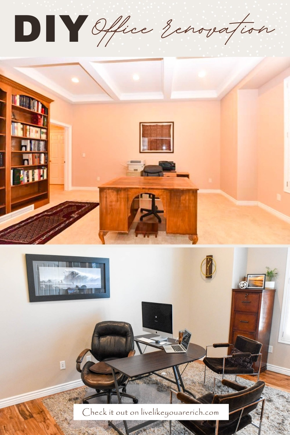 The DIY office renovation before and after photos for my house 3. You can renovate your office for much less than the estimated $150-$300 a square foot! We did ours for $13.33 a square foot!! Check the blog to see how we saved over $19,400 on this DIY office Renovation!