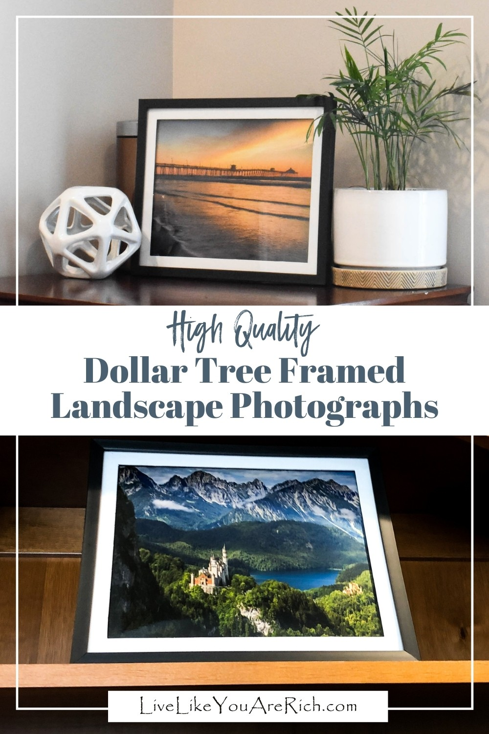 I made these high quality dollar tree framed landscape photographs for $2.50 each. They turned out great and have added beauty and color to my office. When decorating a space that is important to you, or that you will spend a lot of time in, it is nice to have decor that uplifts and brings good feelings or nostalgia.