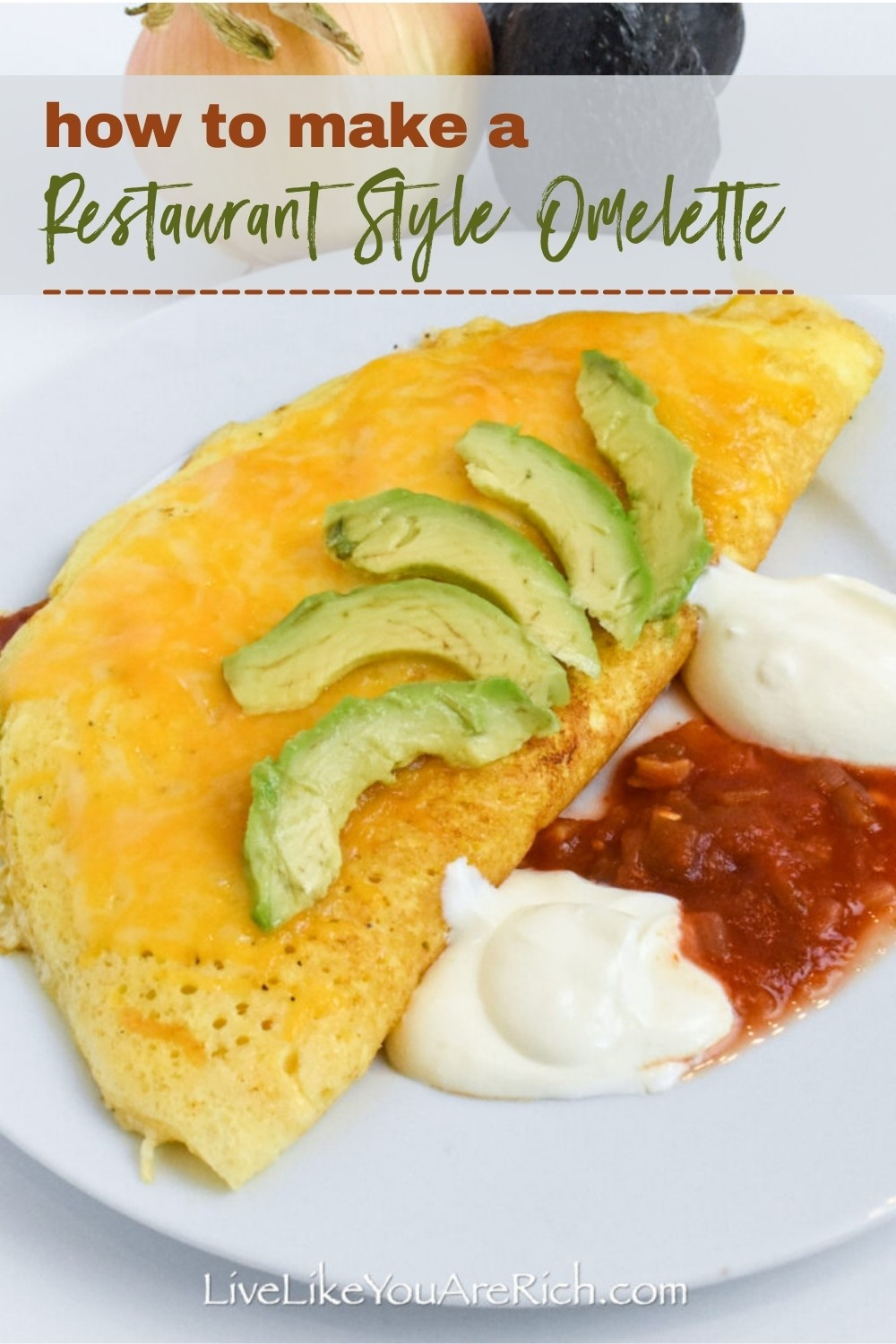 A delicious-tasting omelette that is fluffy and not over or under cooked. Serve with salsa, sour cream, guacamole, ketchup, tabasco or any other toppings you desire.