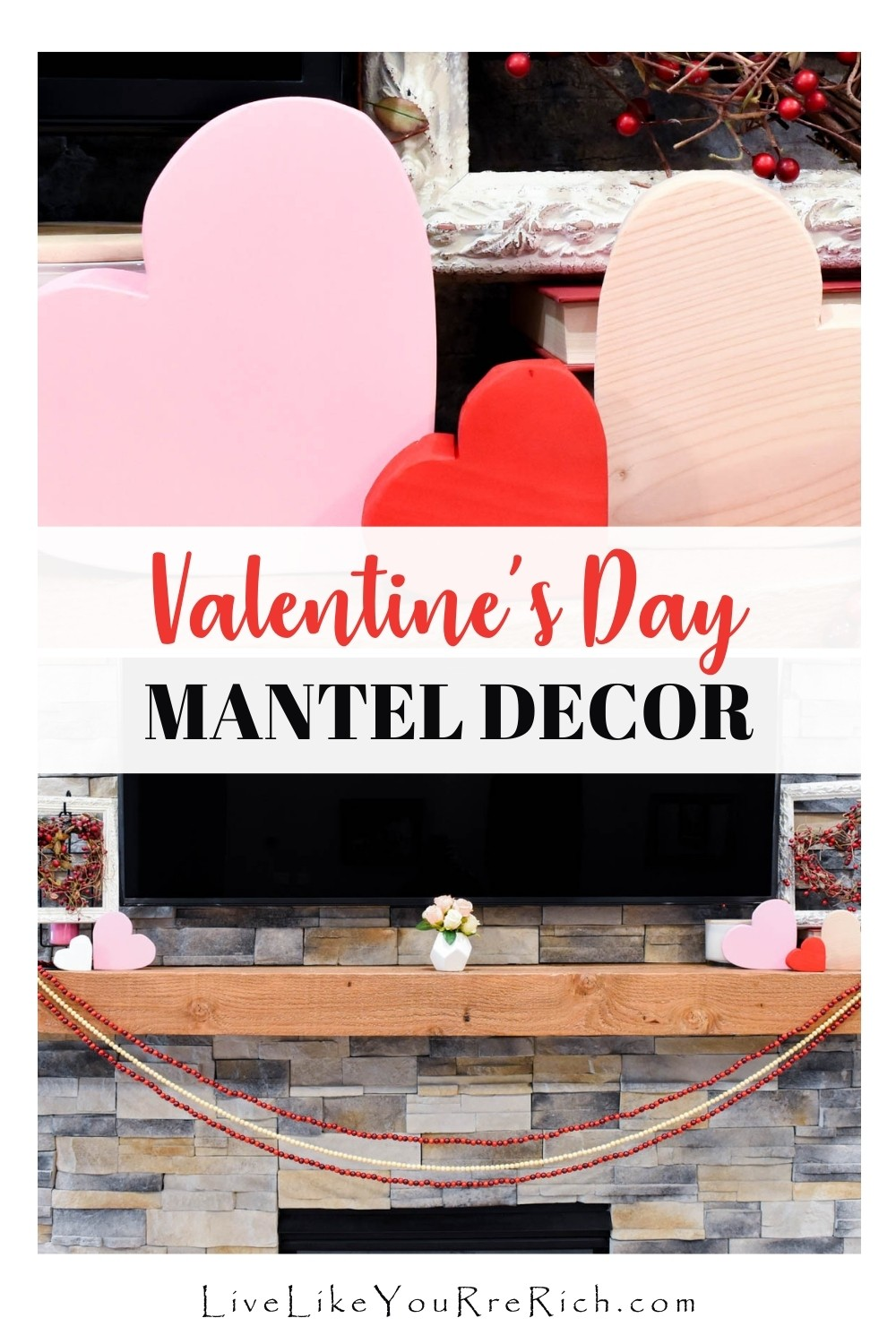 This Valentine's Day Mantel Decor is styled in a shabby chic decorating style. I think it turned out quite cute. Although I don't often decorate shabby chic, I think it is a super cute decor style.
