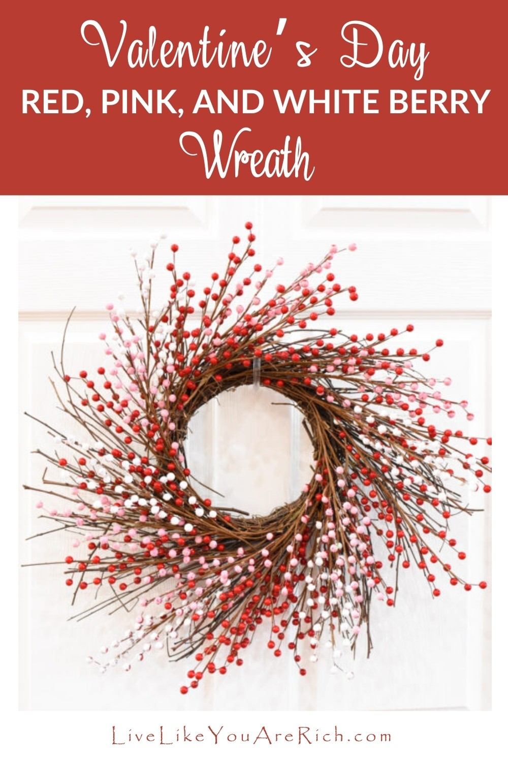 This Valentine's Day Red, Pink, and White Berry Wreath is one of my favorite wreaths I've ever made. I love the natural yet feminine vibe. I love its shape and simplicity. Sometimes Valentine's Day decor is a little overly plastic and cheesy. I really like subtleness of this wreath.