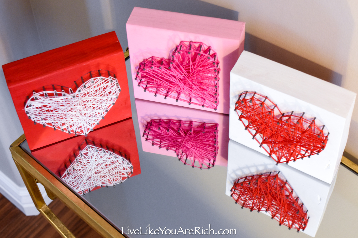 Valentine's String Heart Craft displayed