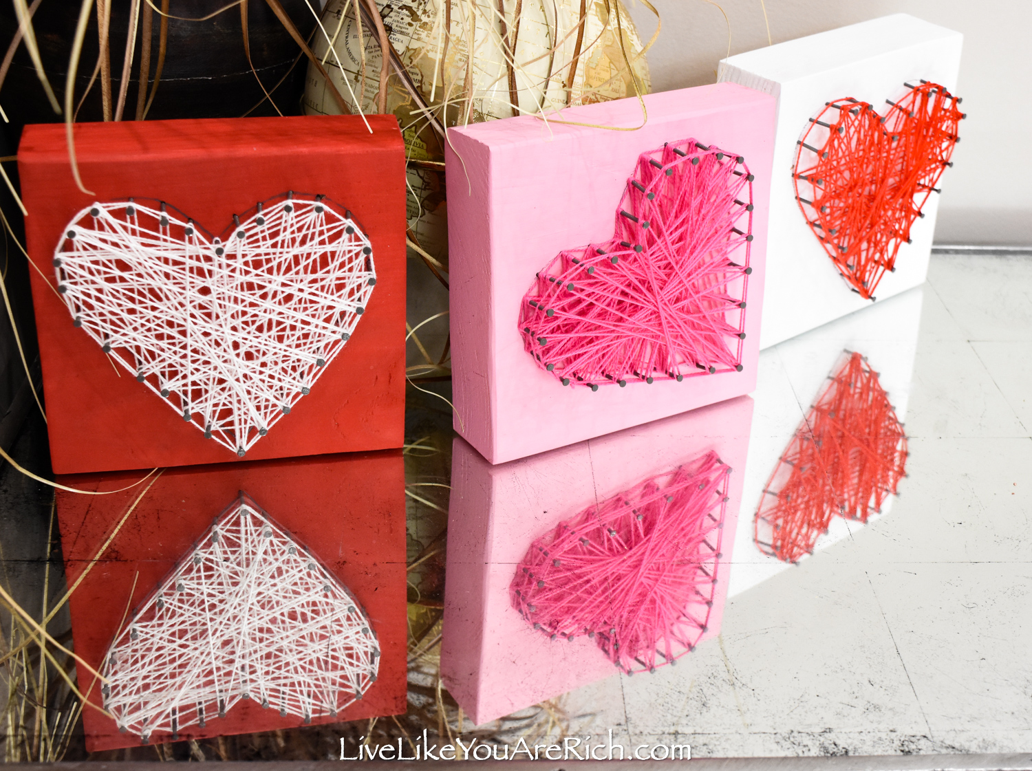 Valentine's String Heart Craft mantel display