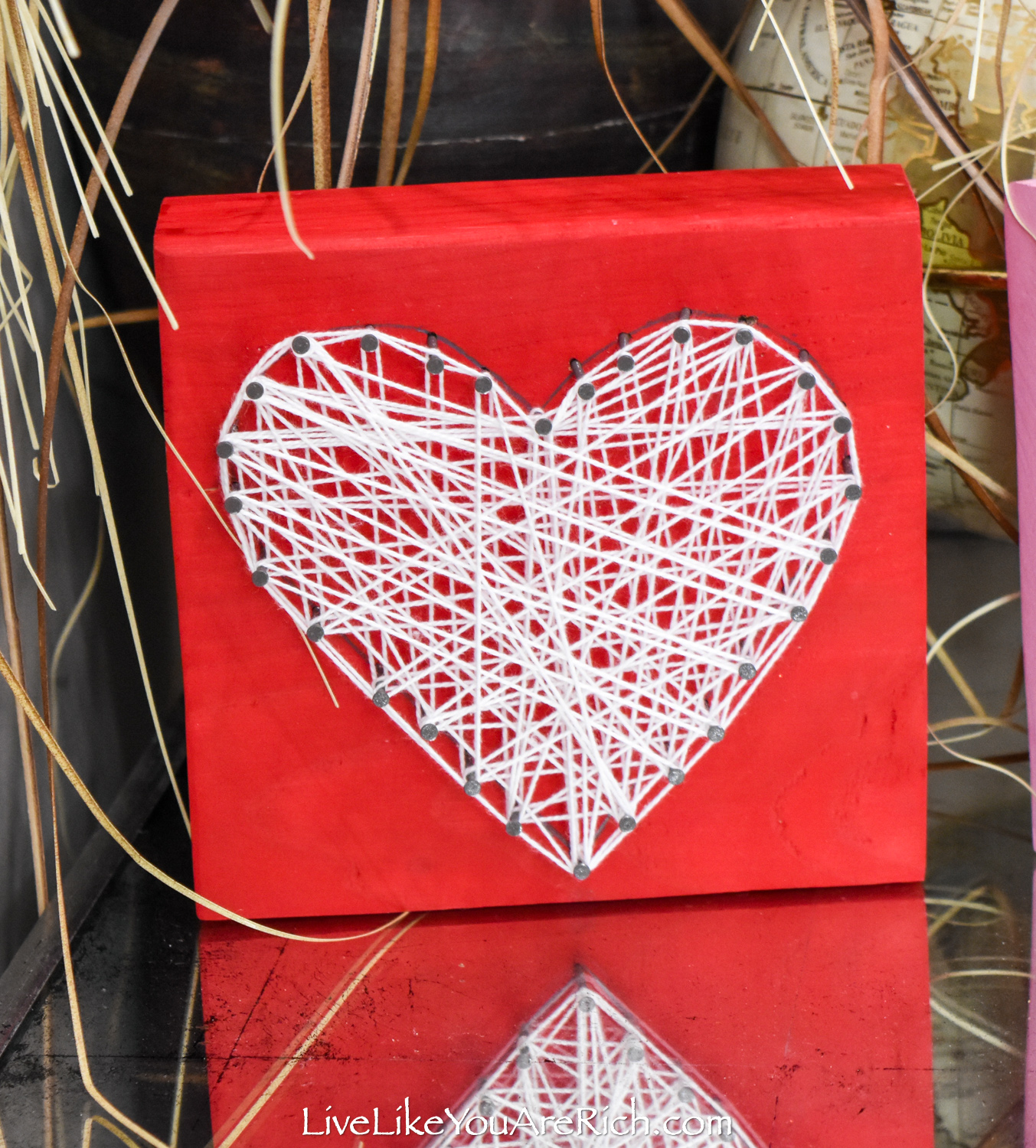 Valentine's String Heart Craft in red wood