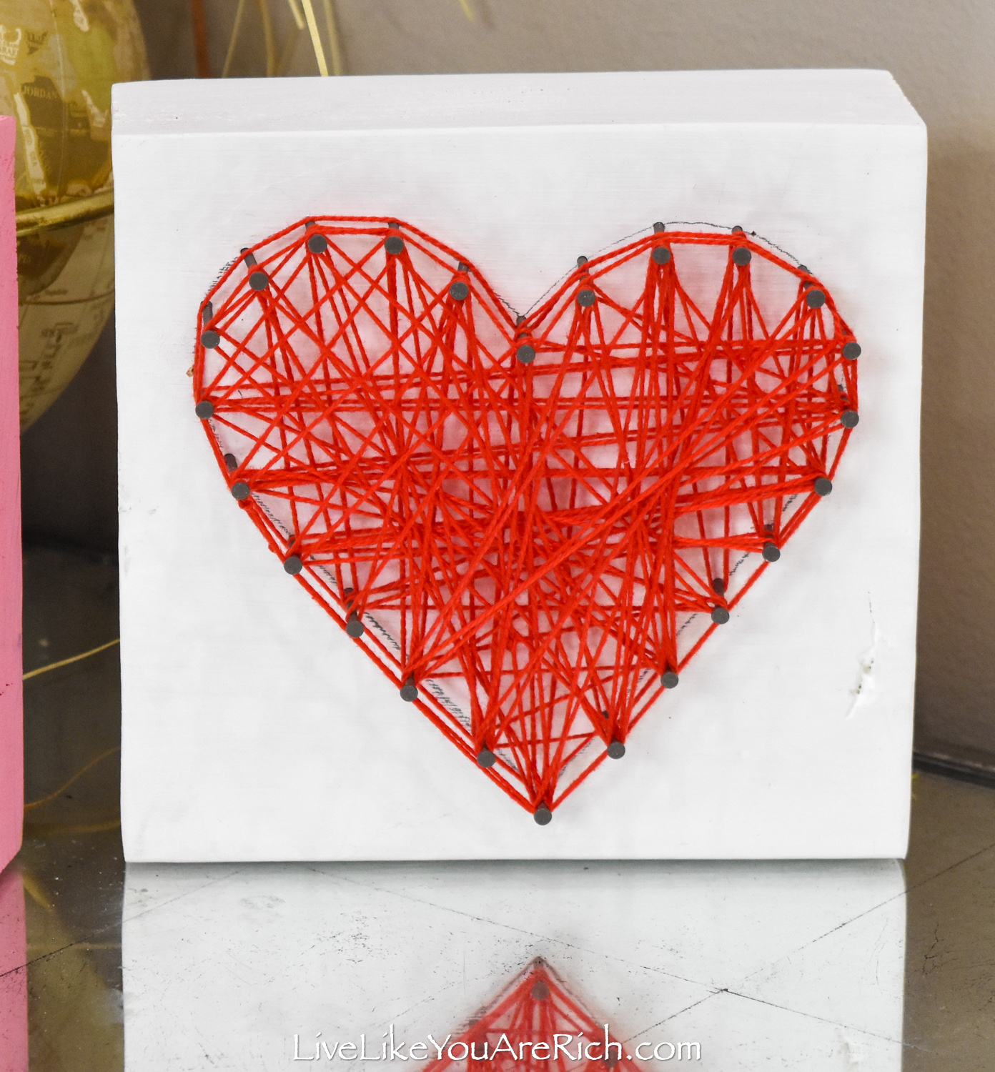 Valentine's String Heart Craft in white block wood
