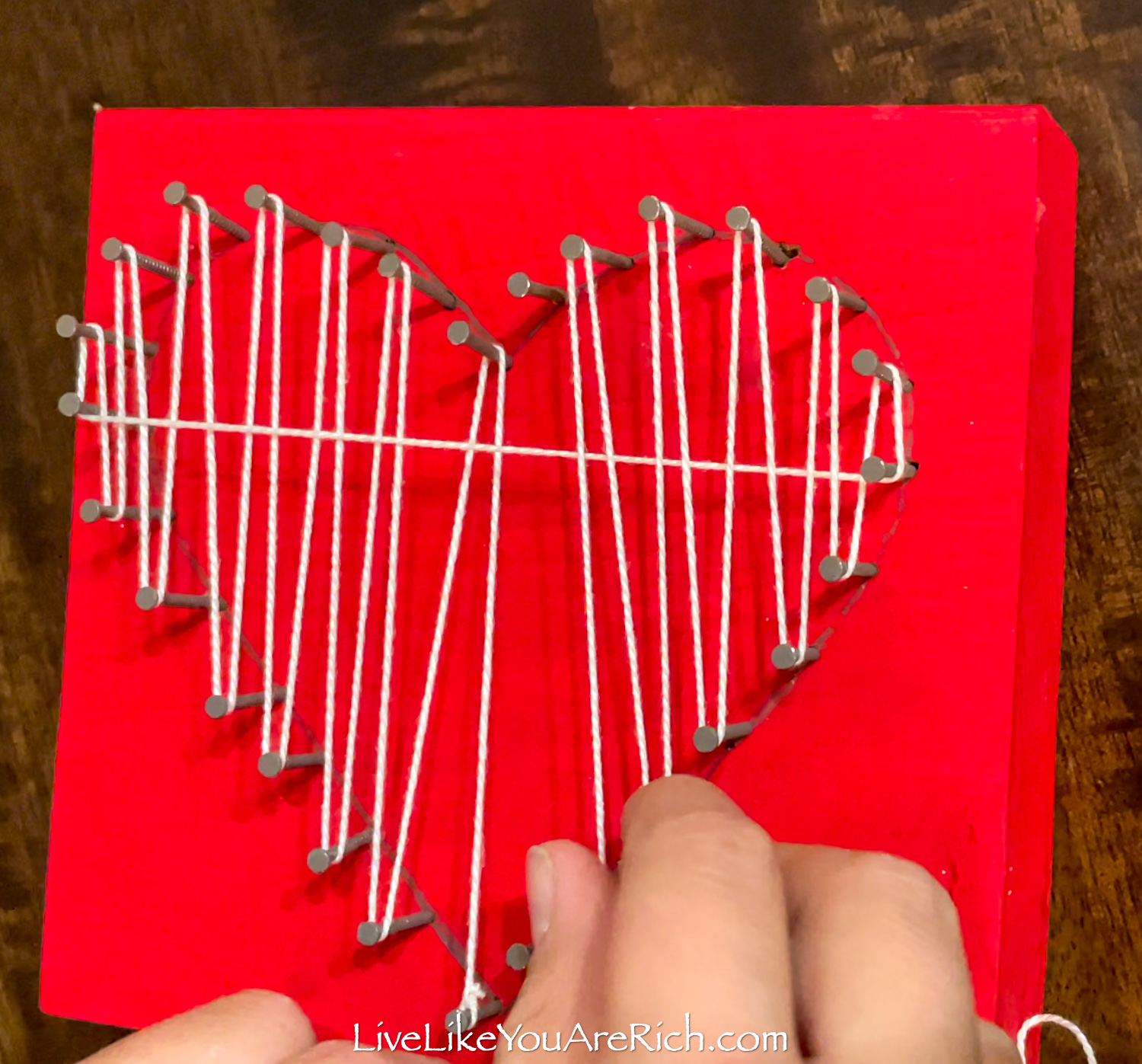 Valentine's String Heart Craft tie the floss