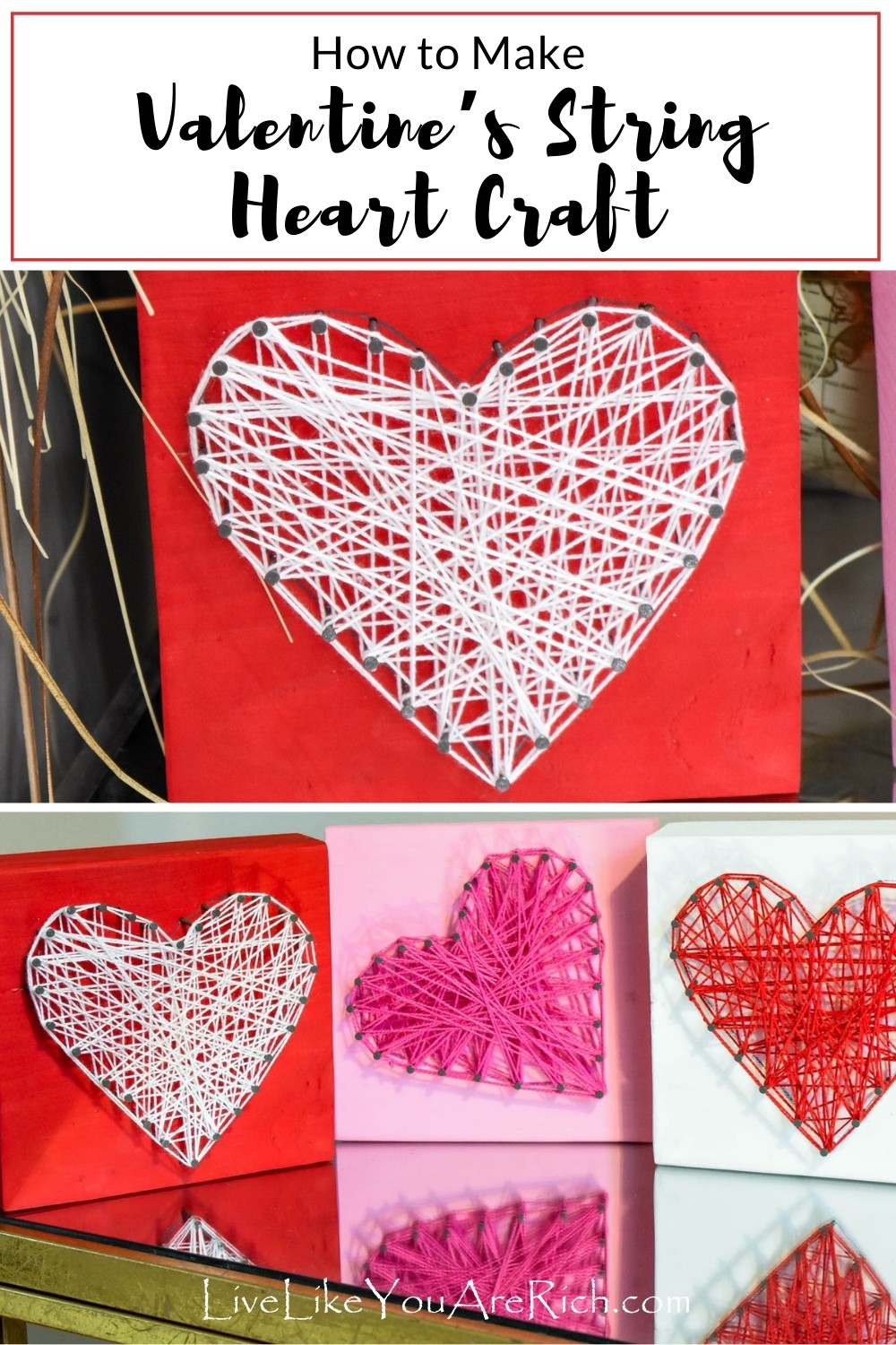 Easy, inexpensive, and fun Valentine's craft. These Valentine's String Heart Crafts were simple, inexpensive and are fun to make with kids.