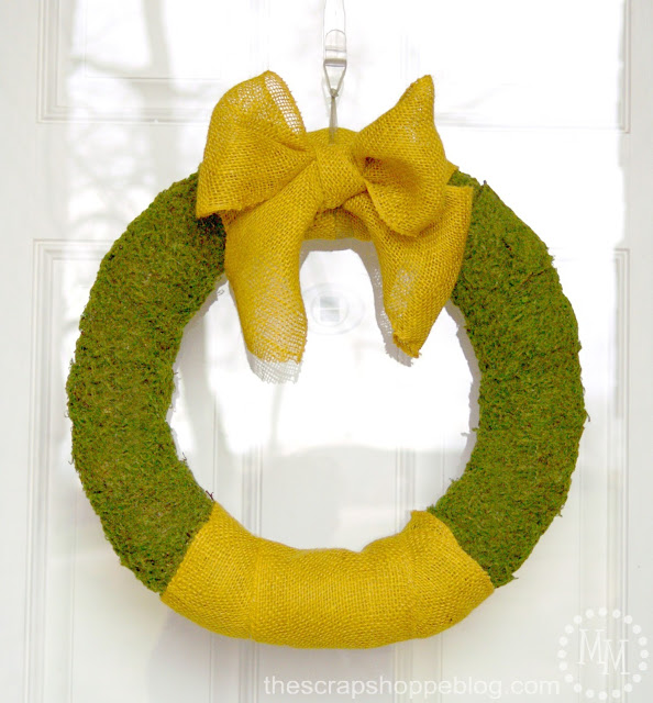 Moss and Burlap Spring Wreath