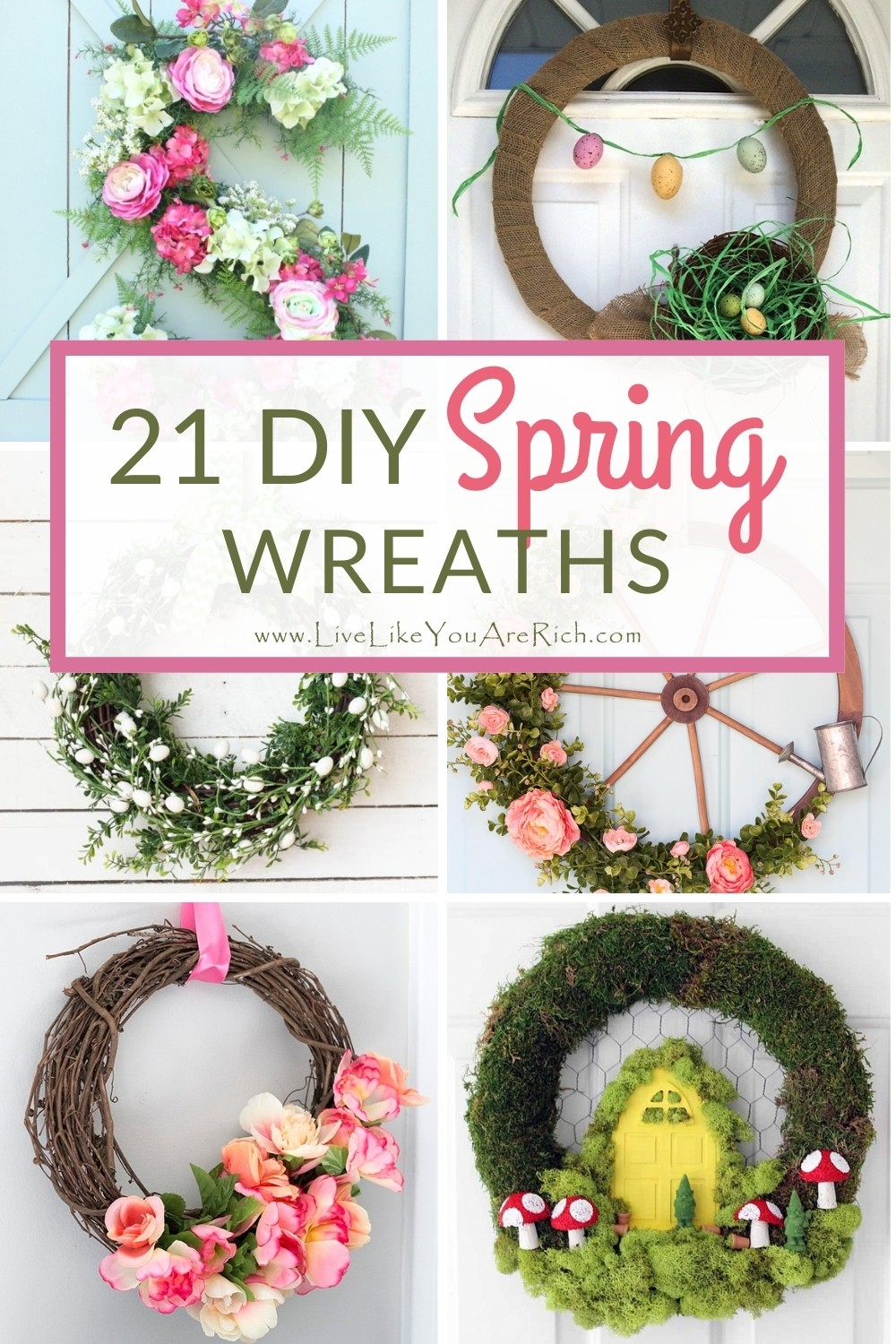 I love Spring! Spring is finally here and I couldn't be more excited. Here are 21 easy  Spring wreath ideas you can make to add instant charm to your home.