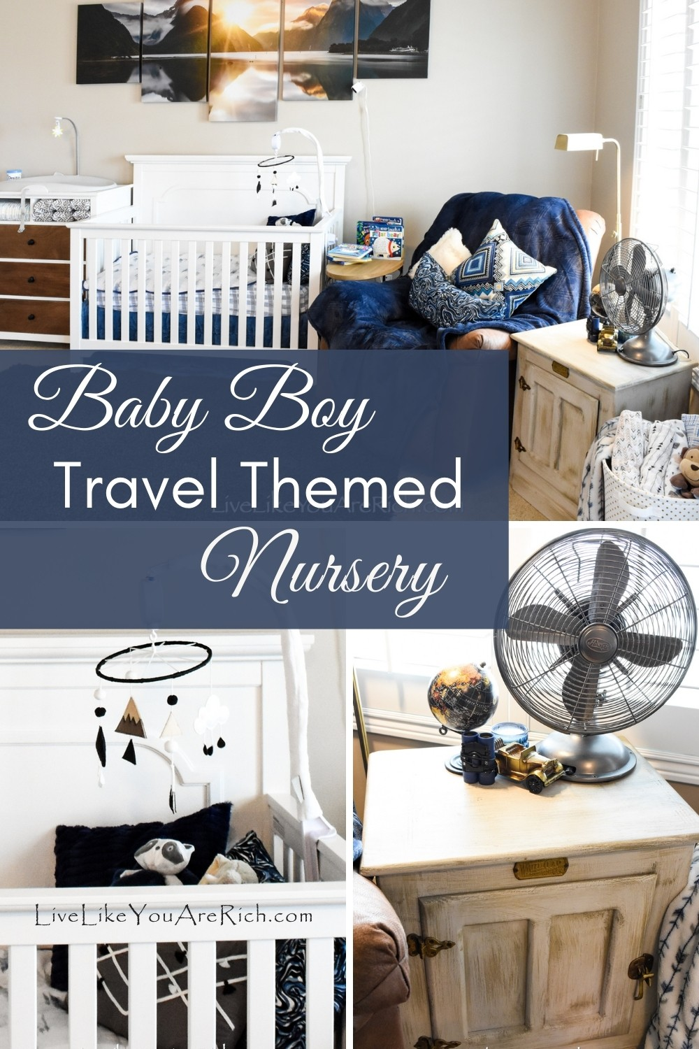 This travel themed boy nursery post give you ideas on how to make a functional, cute, and inexpensive travel themed nursery for your little one.