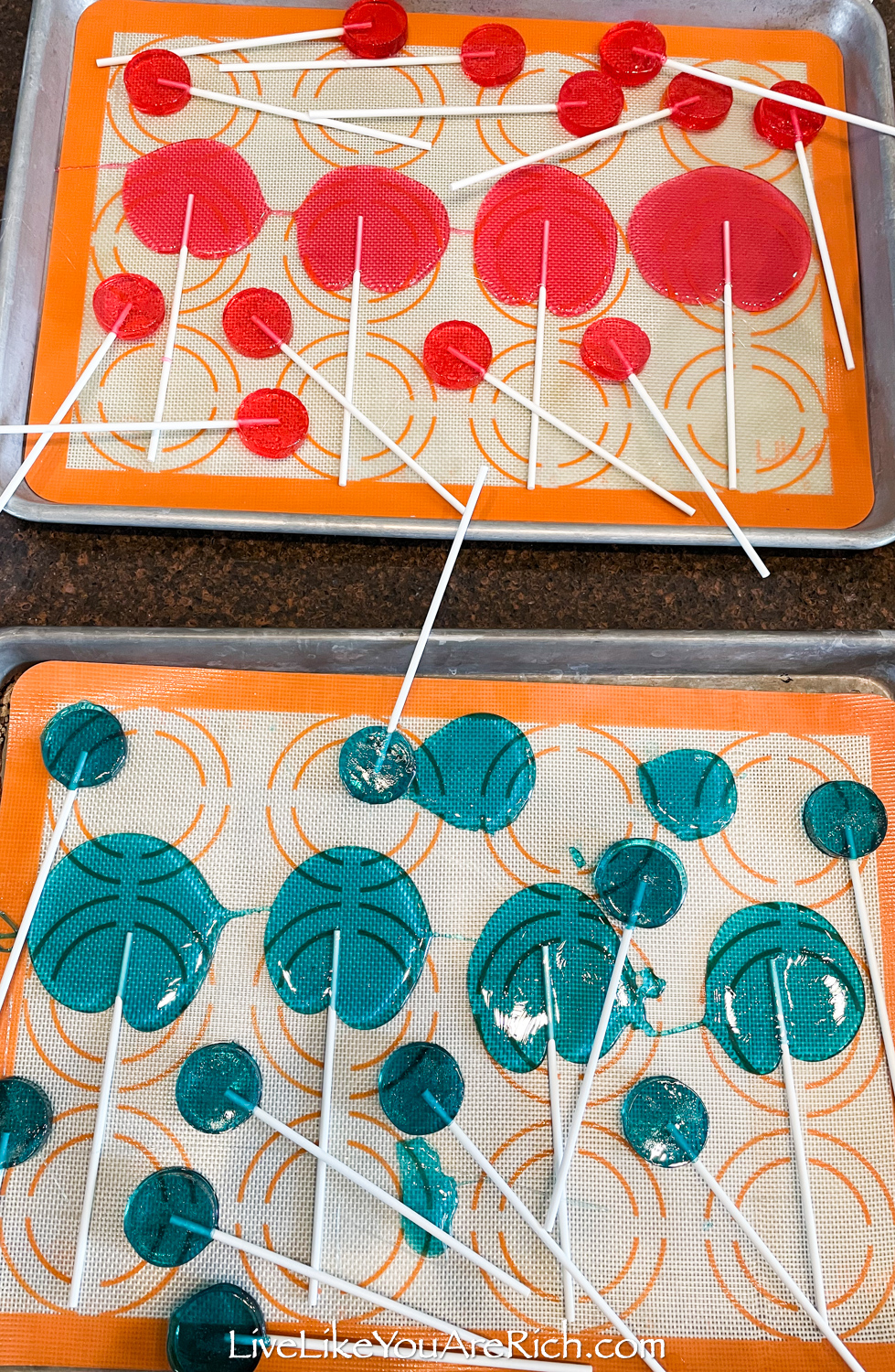 lollipops on a silicon mold